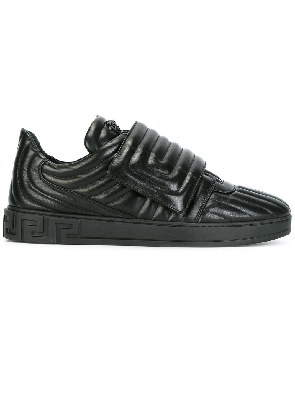 Versace Quilted Greek Key Sneakers in Black for Men | Lyst