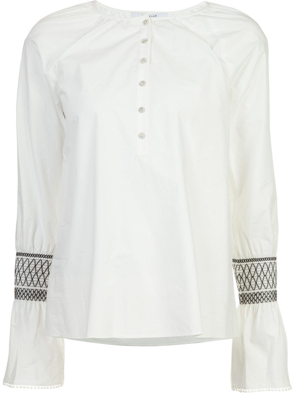 Crosby derek lam embroidered flared cuff shirt in white