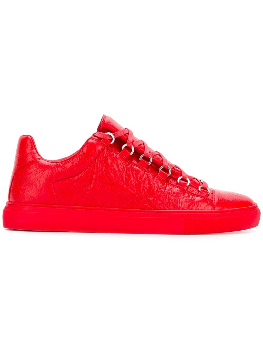 a19ea95a4a6d8 Balenciaga Arena Low-Top Leather Trainers in Red for Men