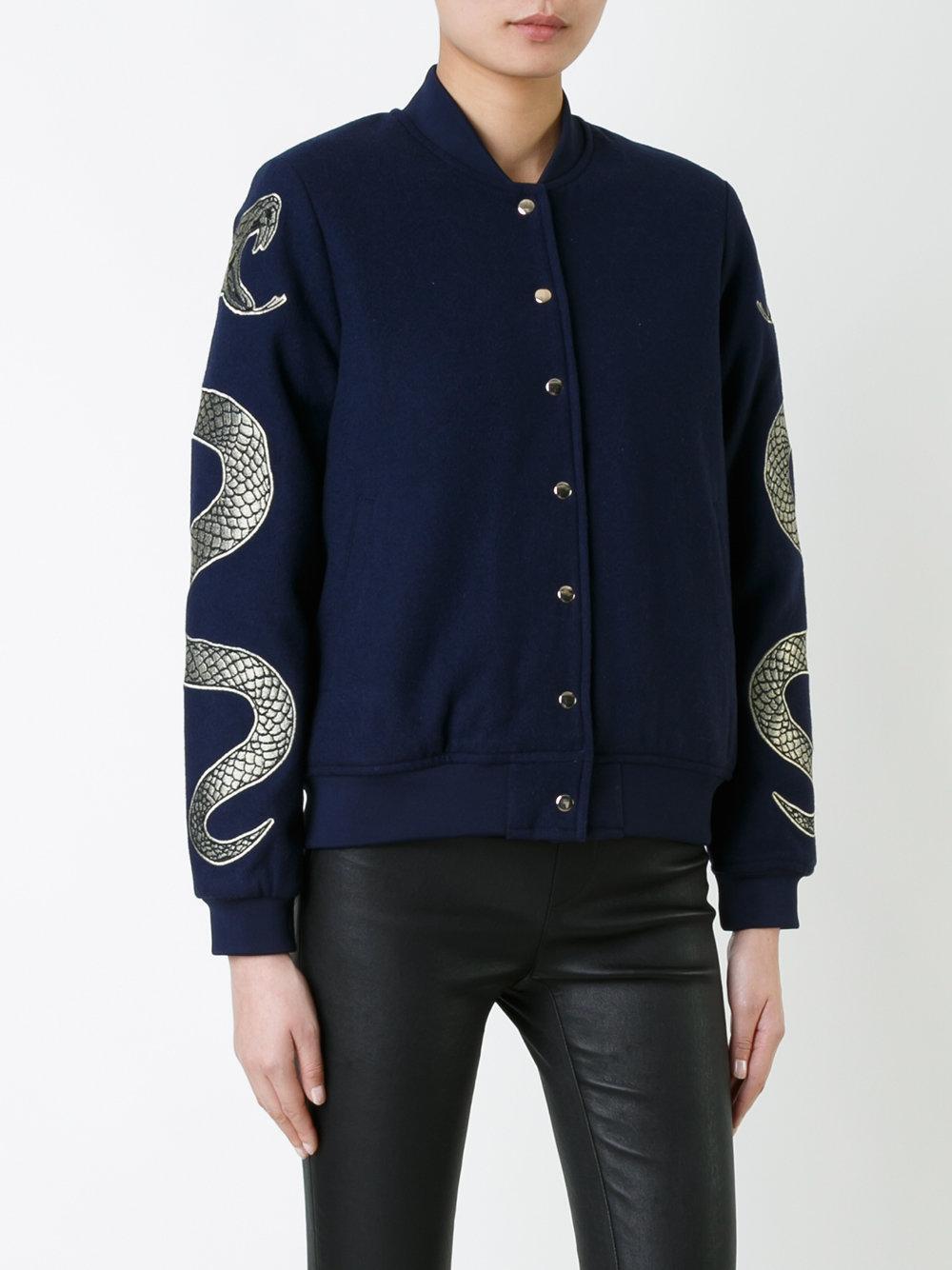 zoe karssen snakes bomber jacket in blue lyst. Black Bedroom Furniture Sets. Home Design Ideas