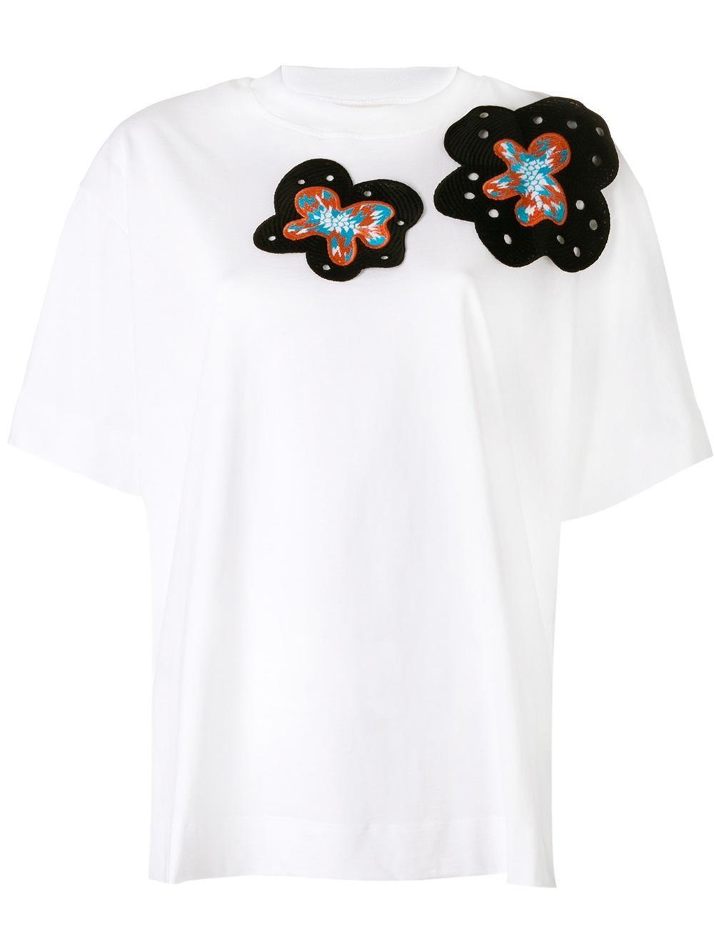 Marni embroidered appliqu t shirt women cotton for Cotton and elastane t shirts