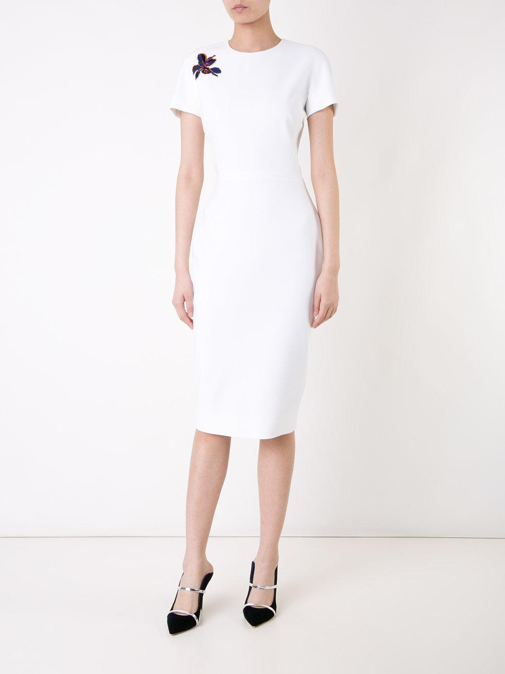 Victoria Beckham Short Sleeved Fitted Dress In White Lyst