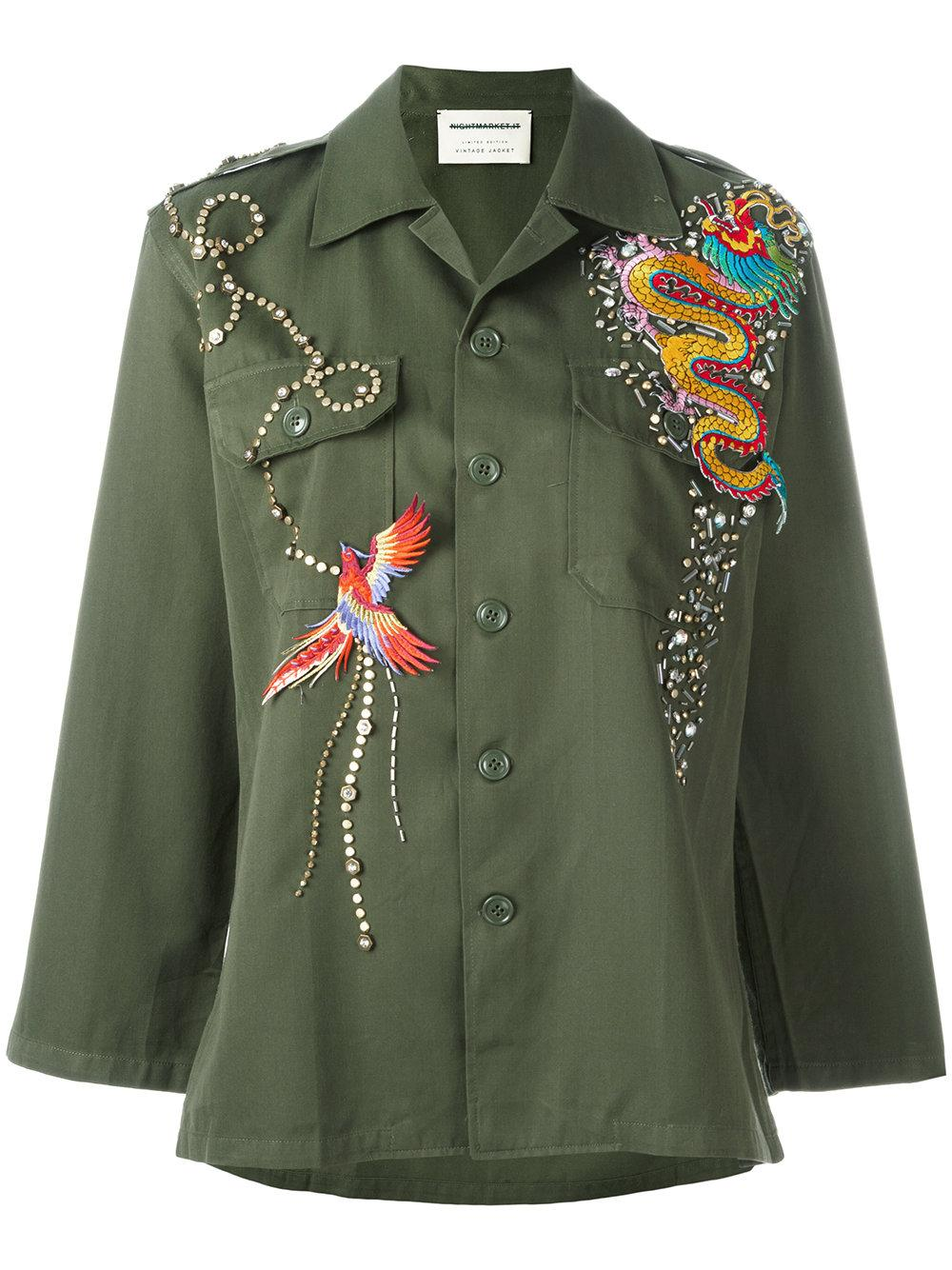 Night market dragon embroidered jacket in green lyst