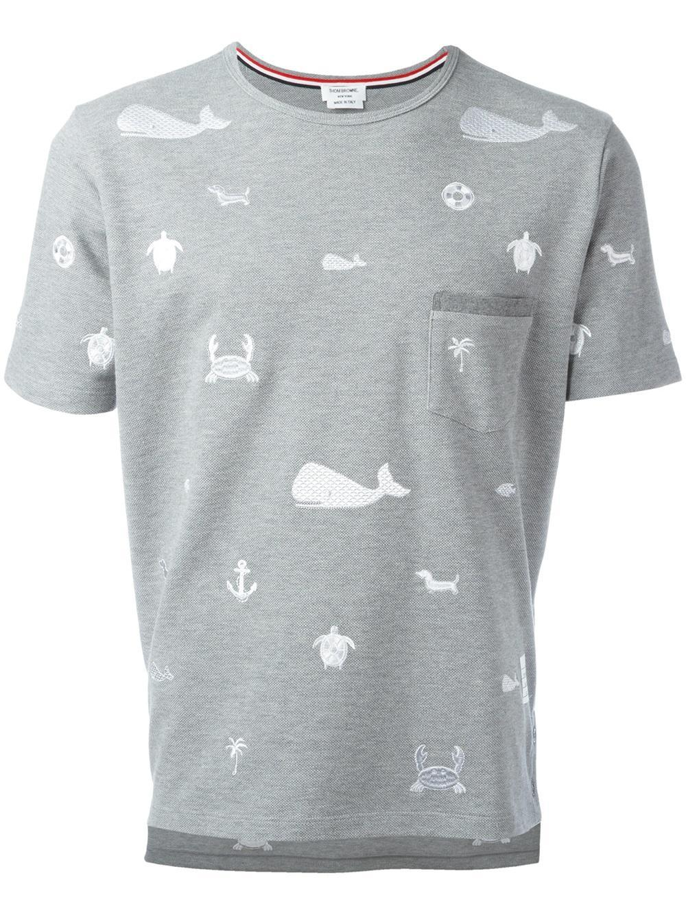 Thom browne embroidered pocket t shirt in gray for men lyst for Thom browne t shirt