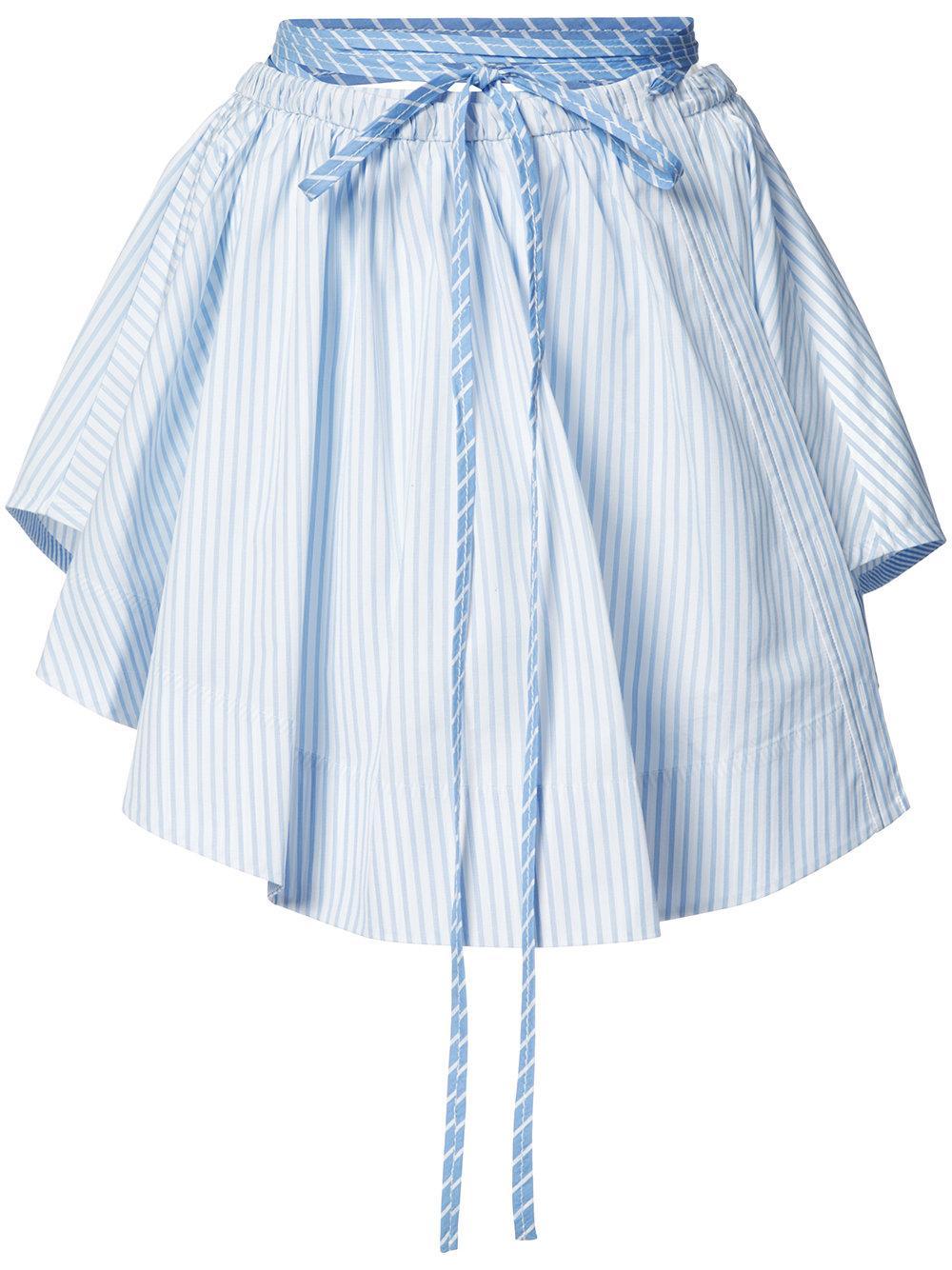 wang pleated stripe skirt in blue lyst
