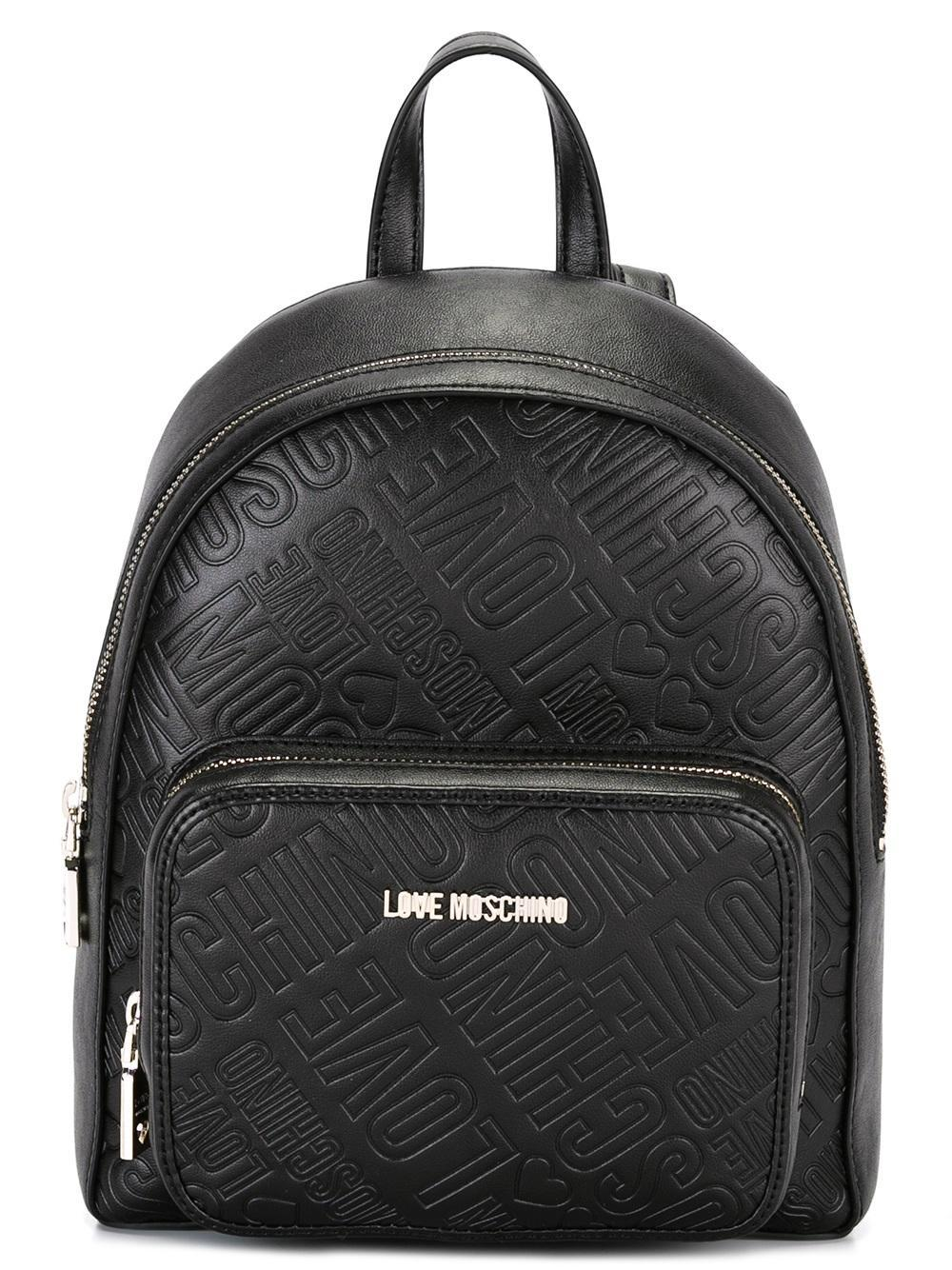 love moschino logo embossed backpack in black lyst. Black Bedroom Furniture Sets. Home Design Ideas