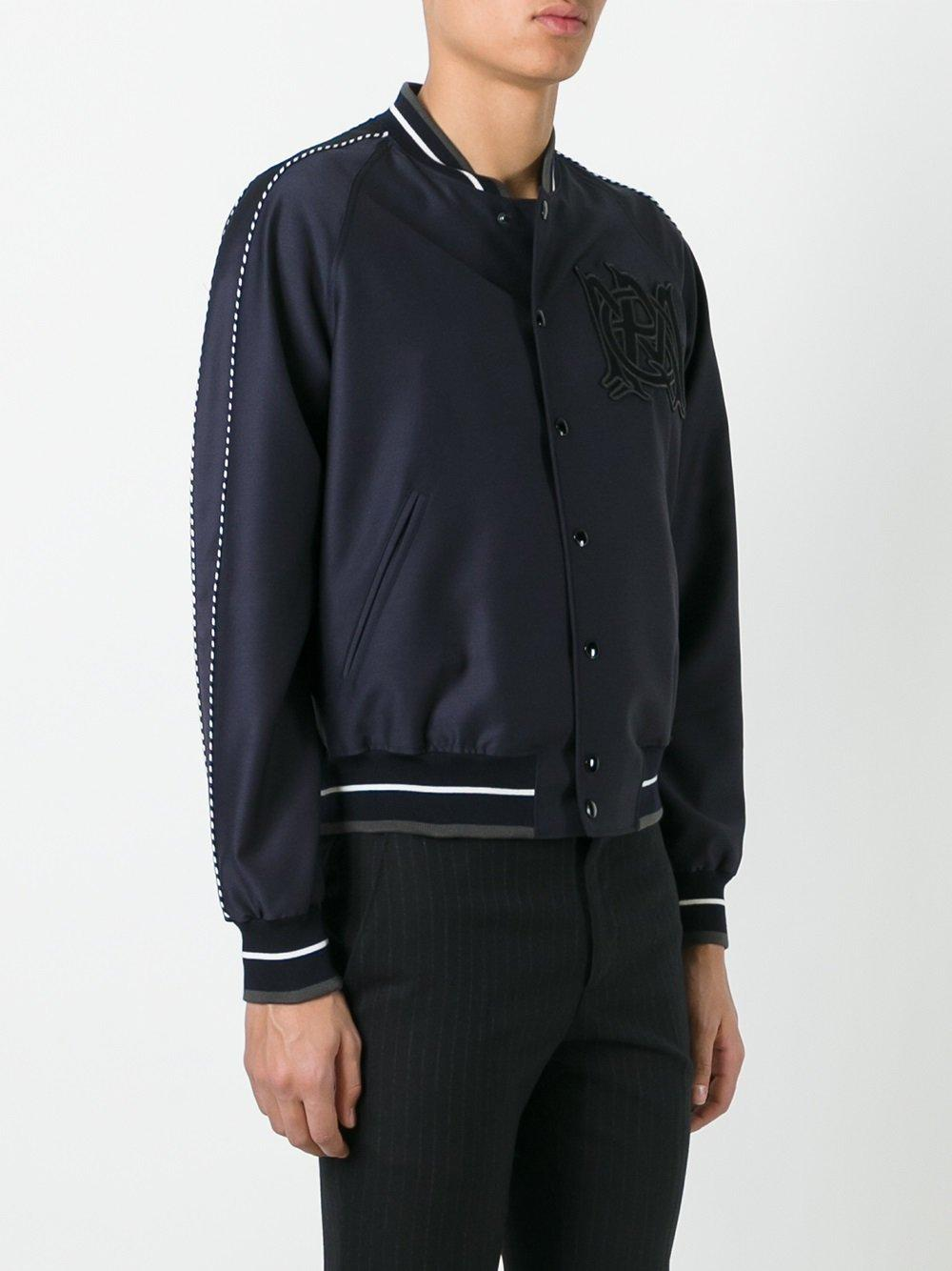 Alexander mcqueen Insignia Bomber Jacket in Blue for Men ...