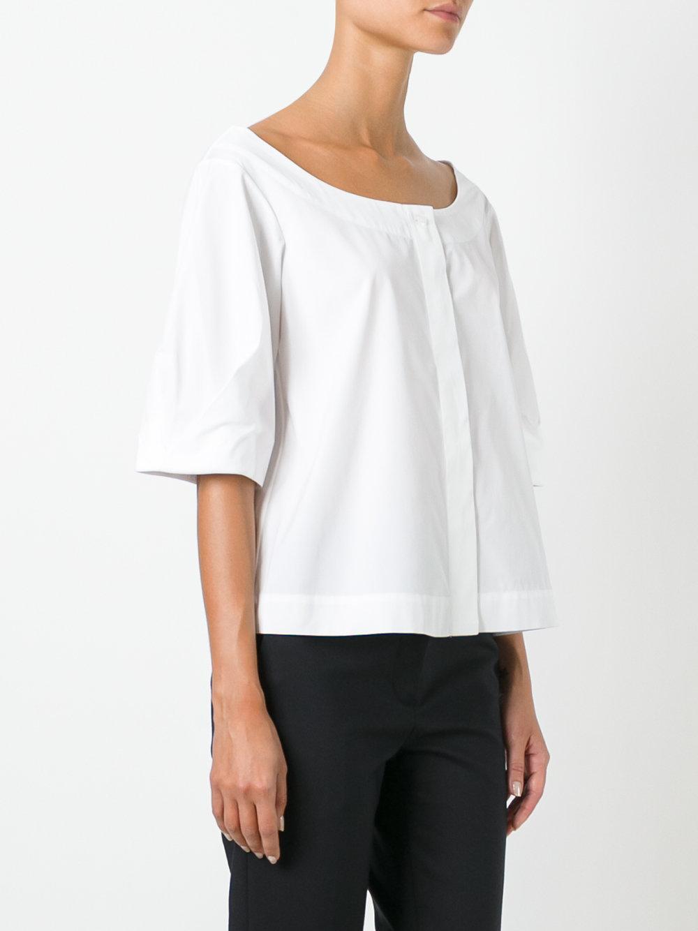 Isa Arfen Scoop Neck Shirt In White Lyst