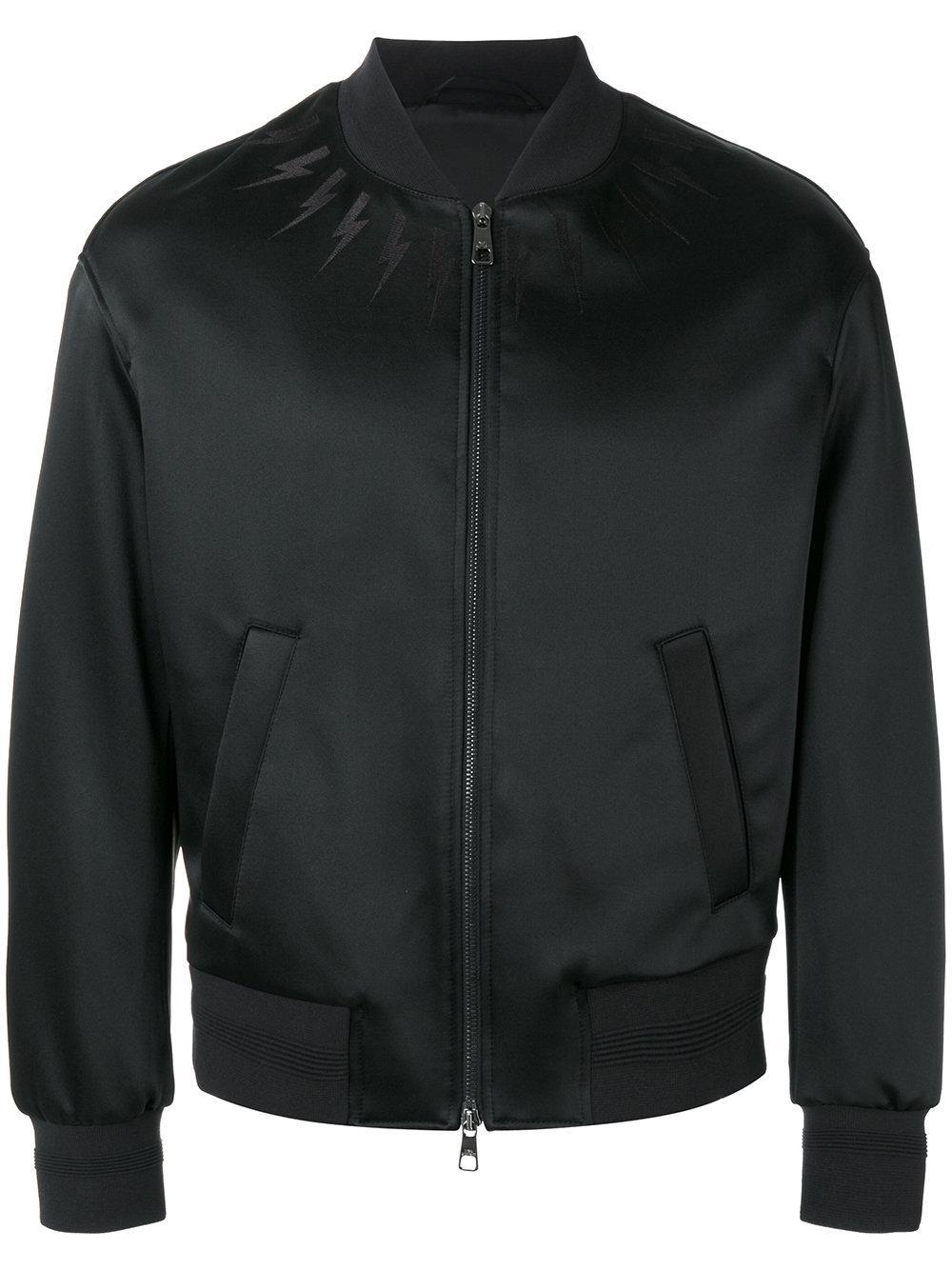 Lighting Jacket: Neil Barrett Lightning Bolt Bomber Jacket In Black