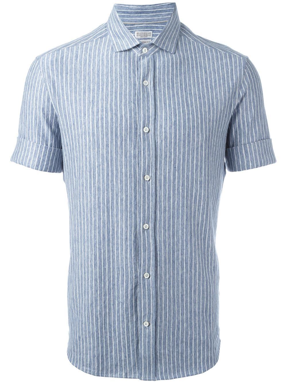 Brunello Cucinelli Striped Shirt In Blue For Men Lyst
