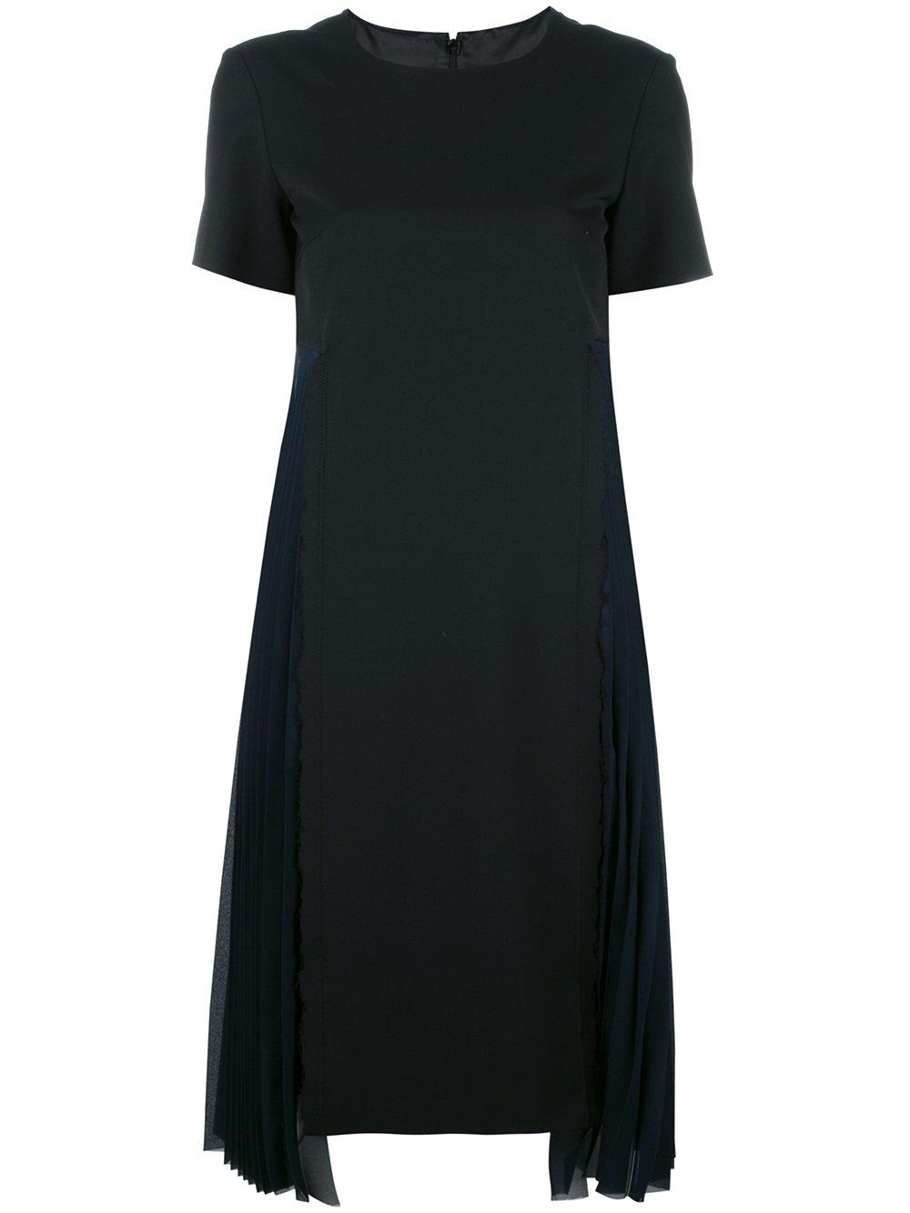 Maison margiela pleated trim t shirt dress in black lyst for Black pleated dress shirt