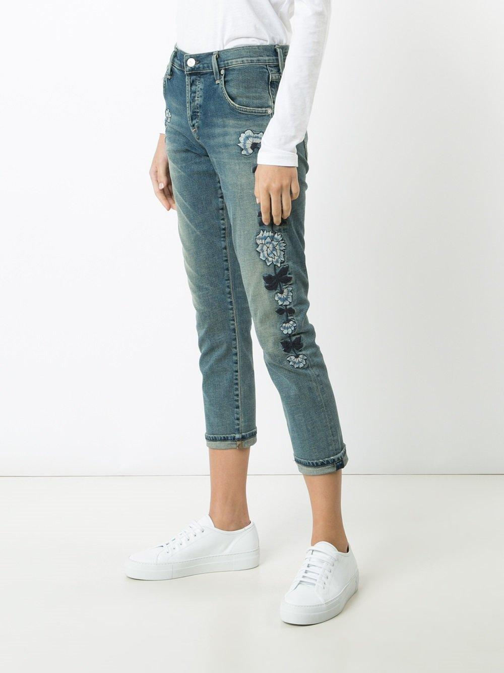 Citizens of humanity embroidered cropped jeans in blue lyst
