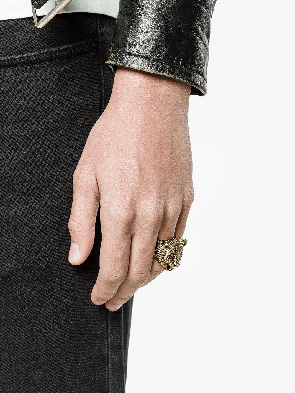 Lyst Gucci Feline Motif Ring In Gray For Men