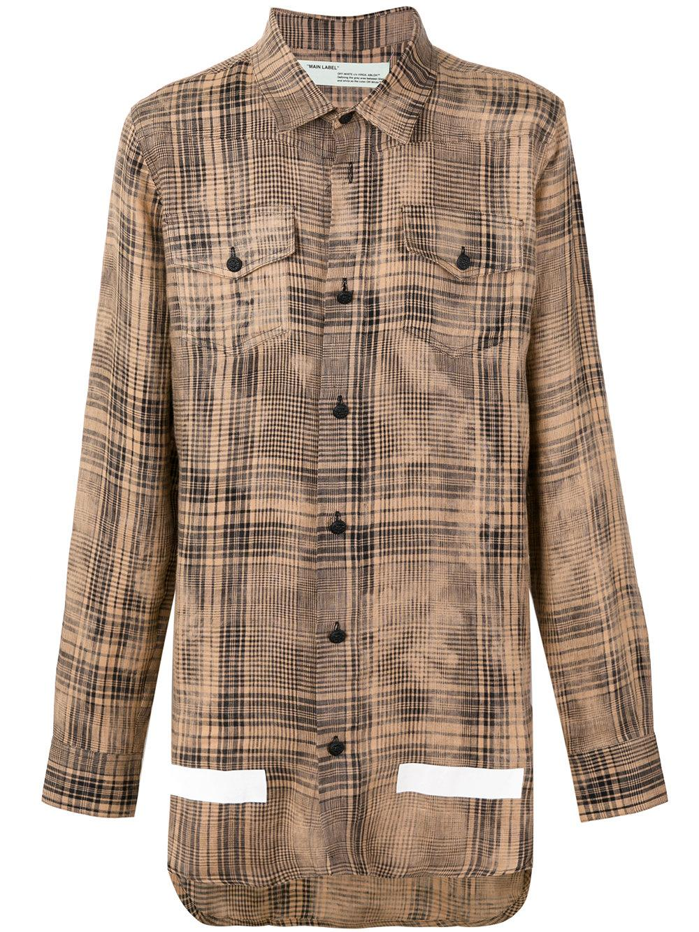 Off white c o virgil abloh plaid shirt in brown for men lyst for Brown and black plaid shirt