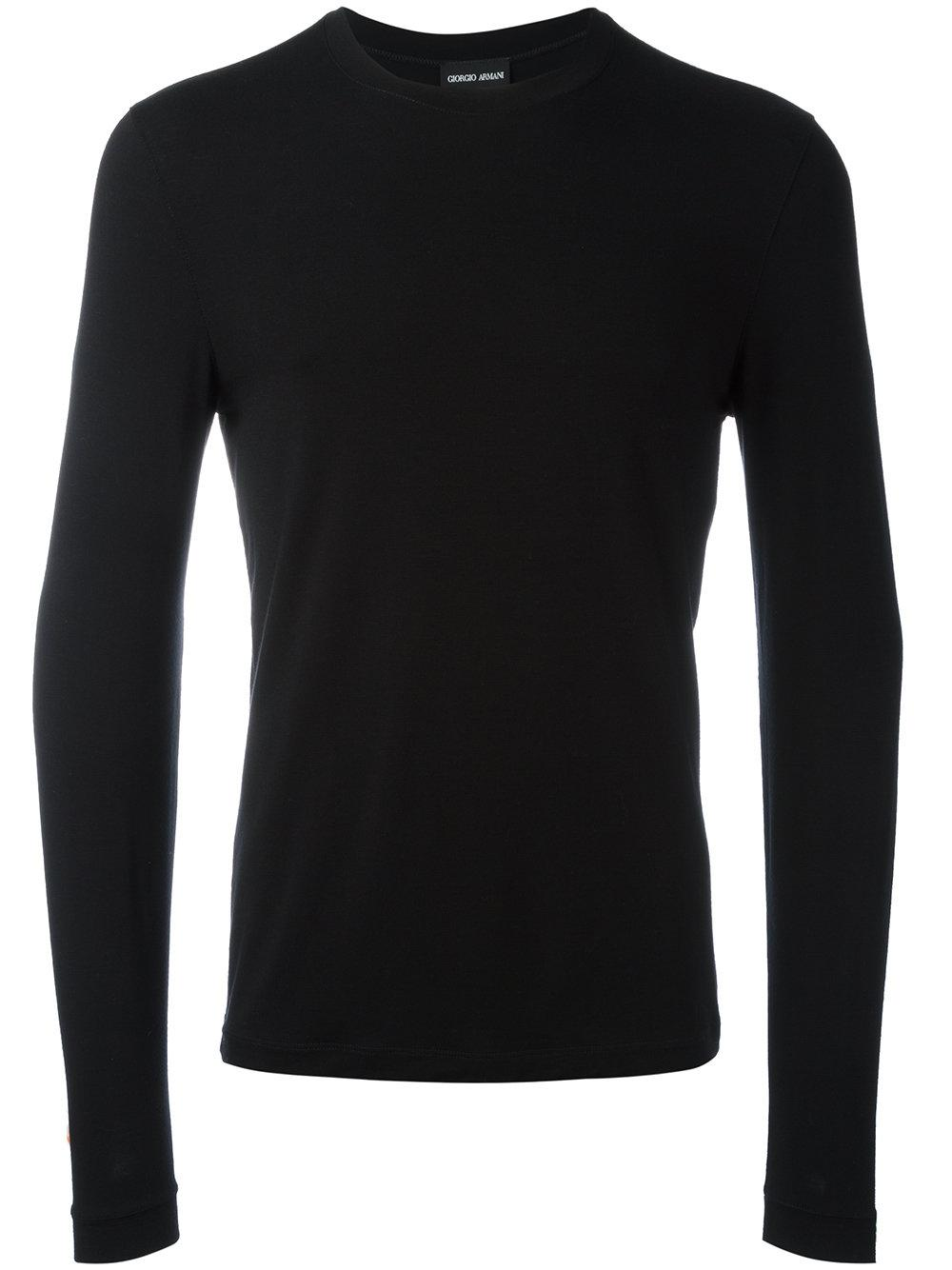 Giorgio Armani Long Sleeve T Shirt In Black For Men Lyst