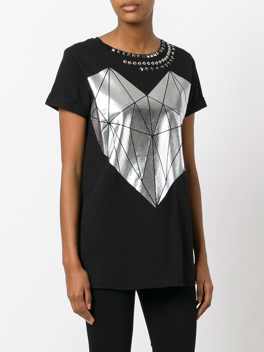 Twin Set Printed Stud T Shirt In Black Lyst