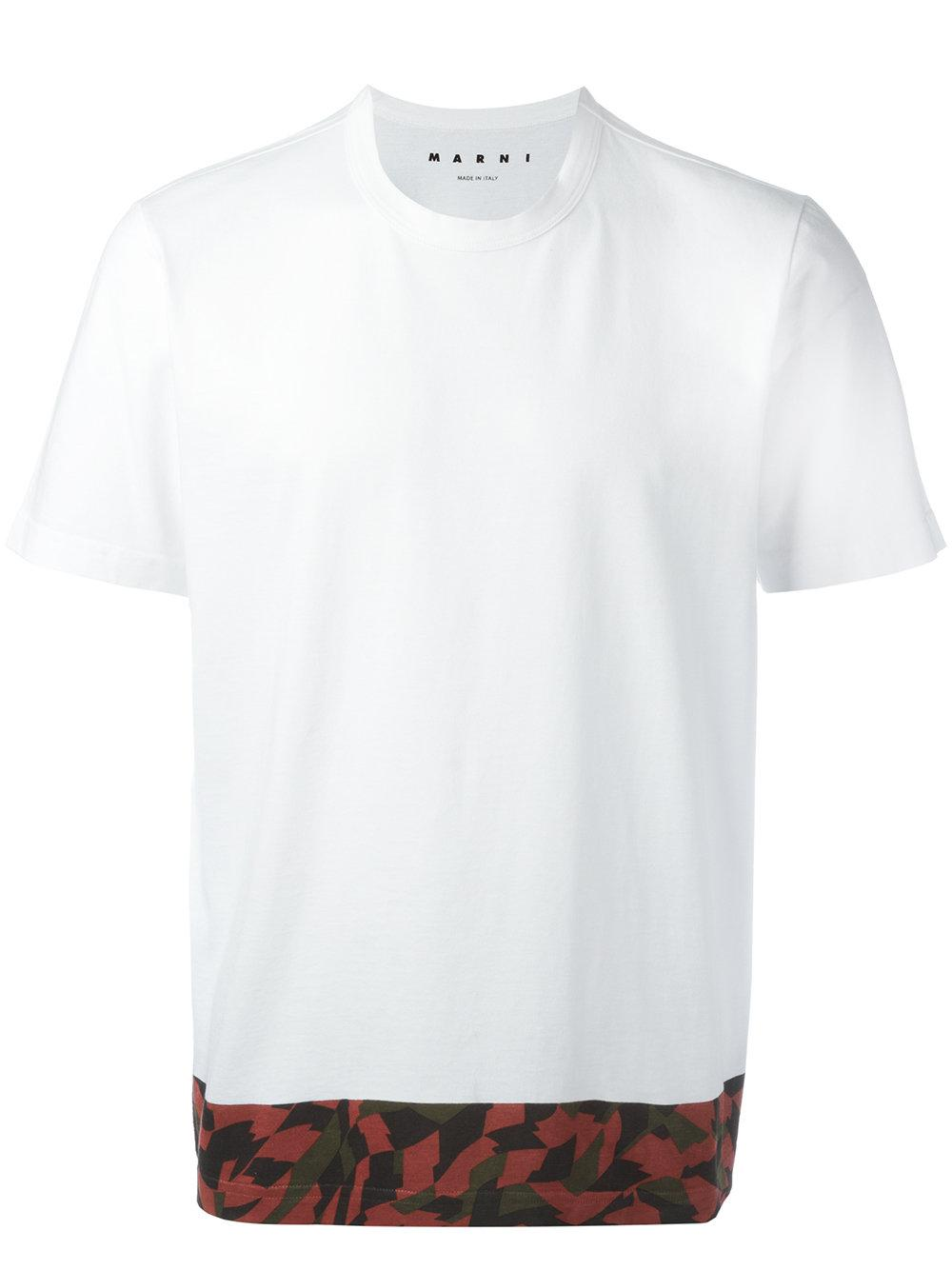 Marni printed trim t shirt in white for men lyst for T shirt printing mobile al