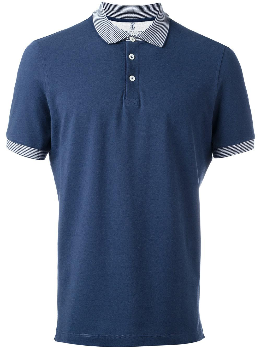 Brunello cucinelli striped collar polo shirt in blue for for Blue striped shirt mens