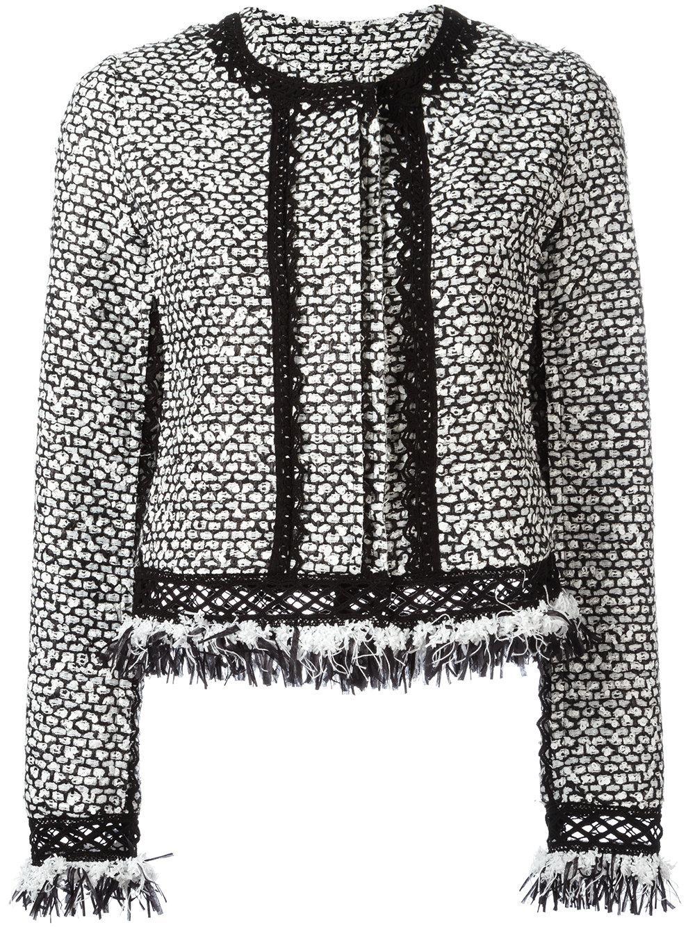 jonathan simkhai ruffle tweed jacket in white lyst. Black Bedroom Furniture Sets. Home Design Ideas