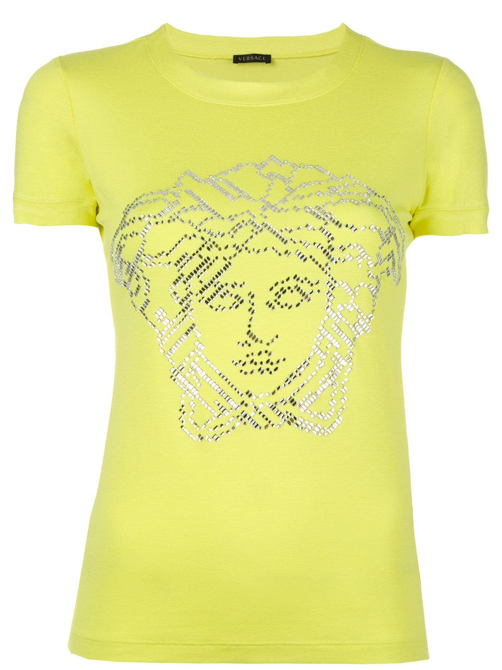 Lyst versace crystal embellished t shirt in green for Versace t shirts women