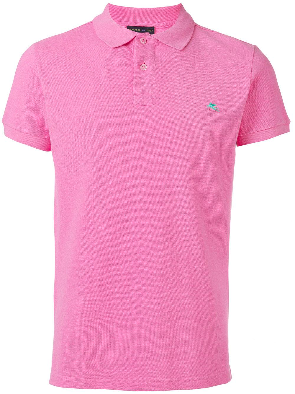 Lyst etro embroidered logo polo shirt in pink for men for Work polo shirts embroidered