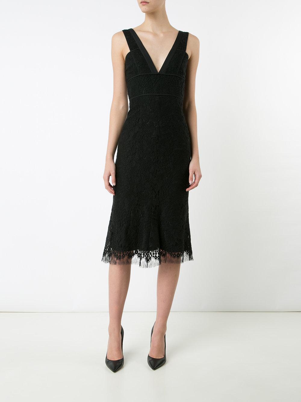 Victoria Beckham V Neck Lace Dress In Black Lyst
