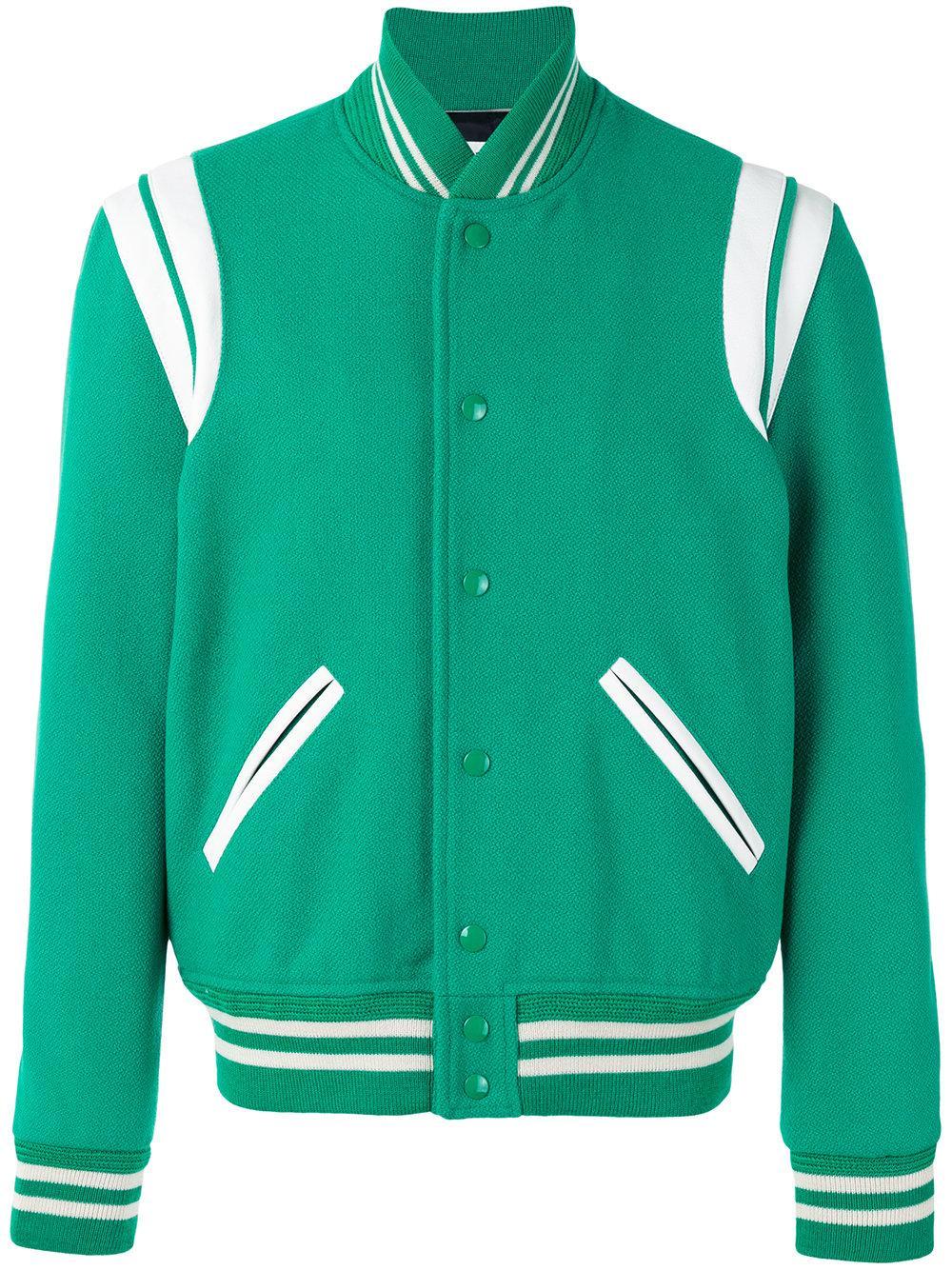 Saint Laurent Teddy Varsity Jacket In Green For Men Lyst