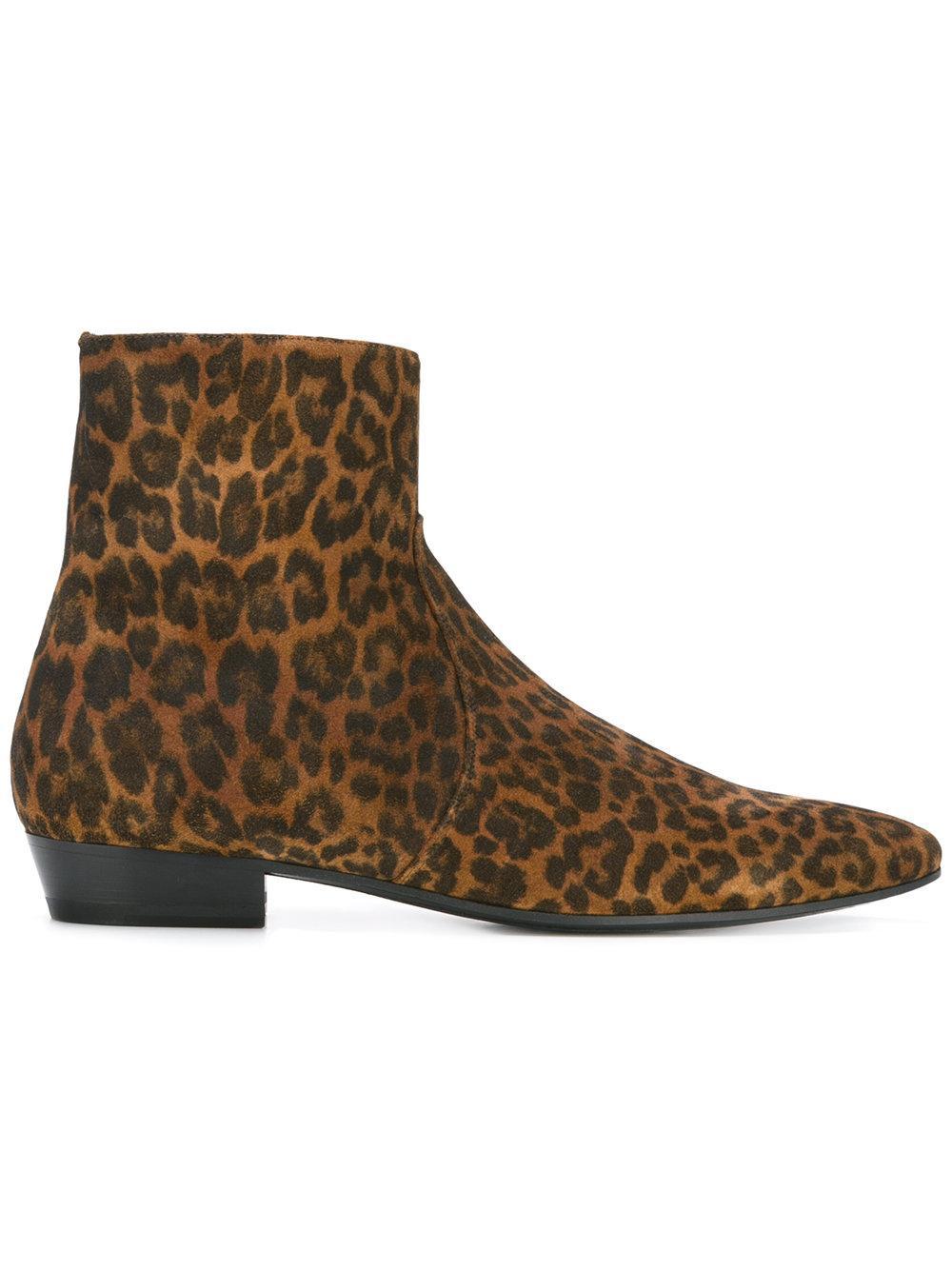 laurent leopard print boot in brown lyst