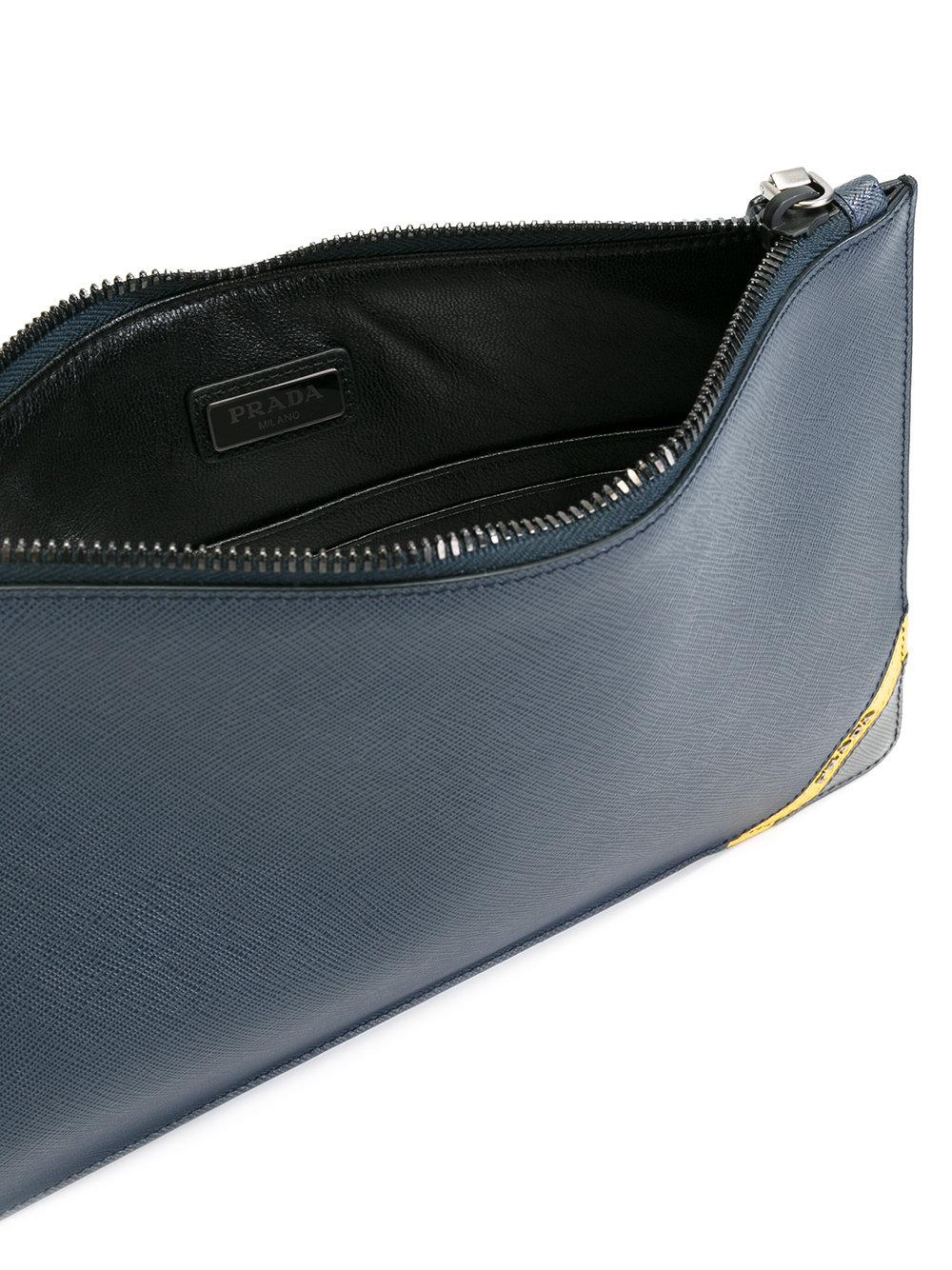 Lyst Prada Brand Embossed Clutch Bag Men Calf Leather One Size