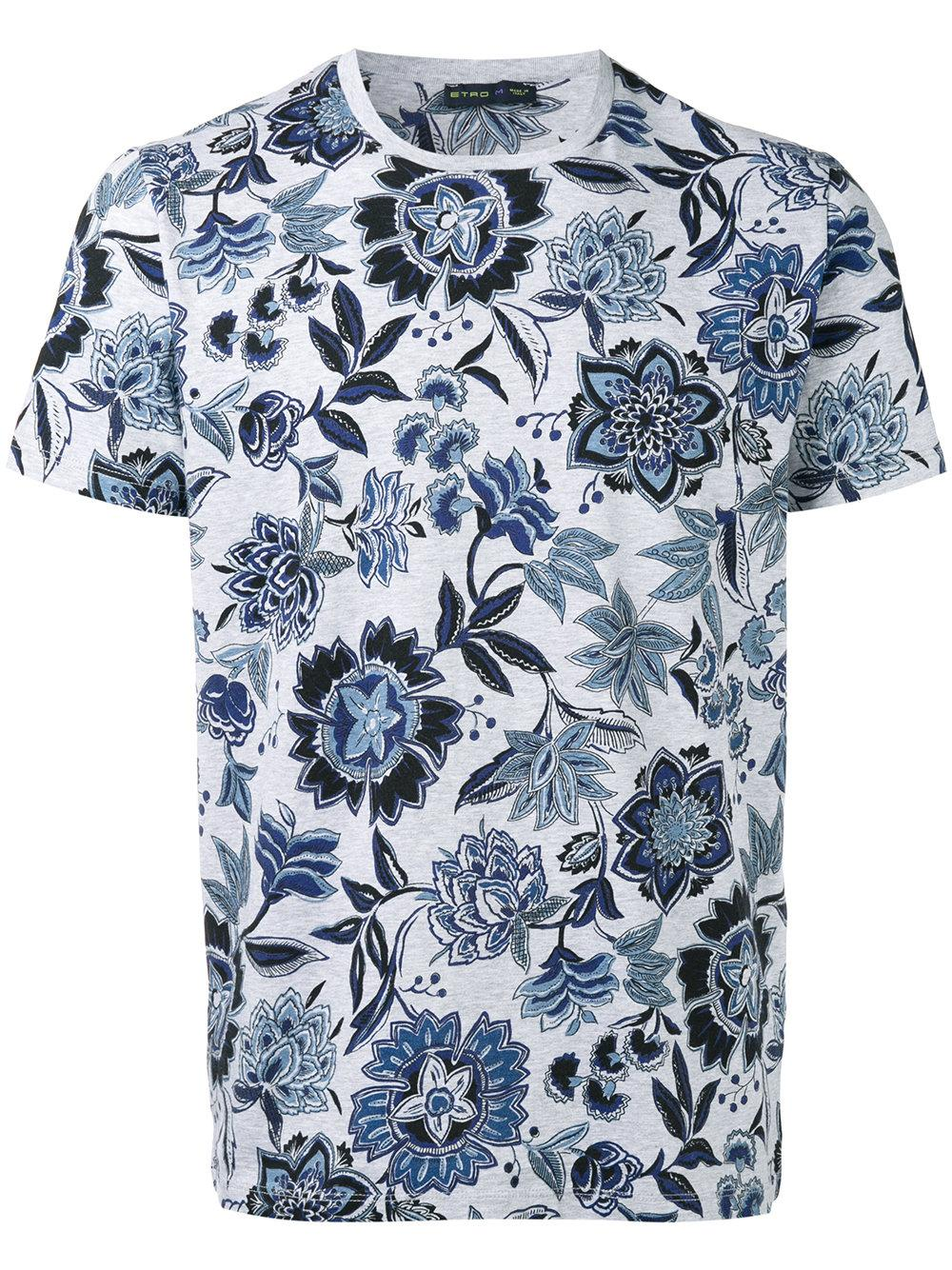 Lyst etro floral print t shirt in gray for men for Floral mens t shirts