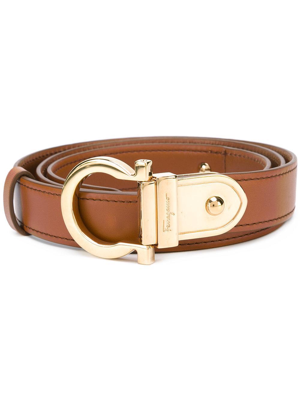 ferragamo contrast gancio buckle belt in brown lyst