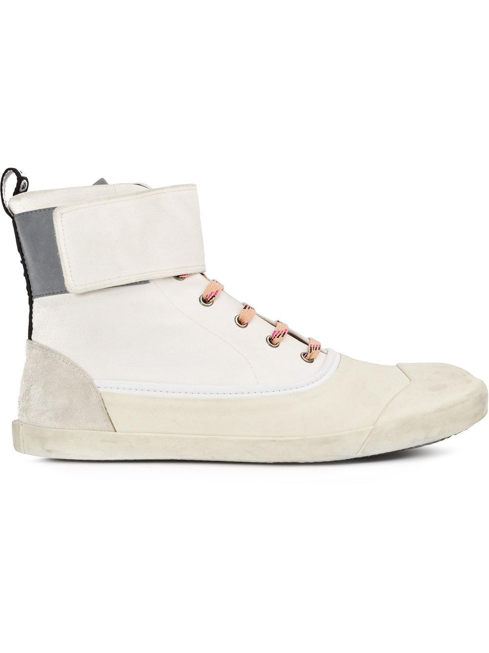 lanvin strapped hi top canvas sneakers in white for lyst