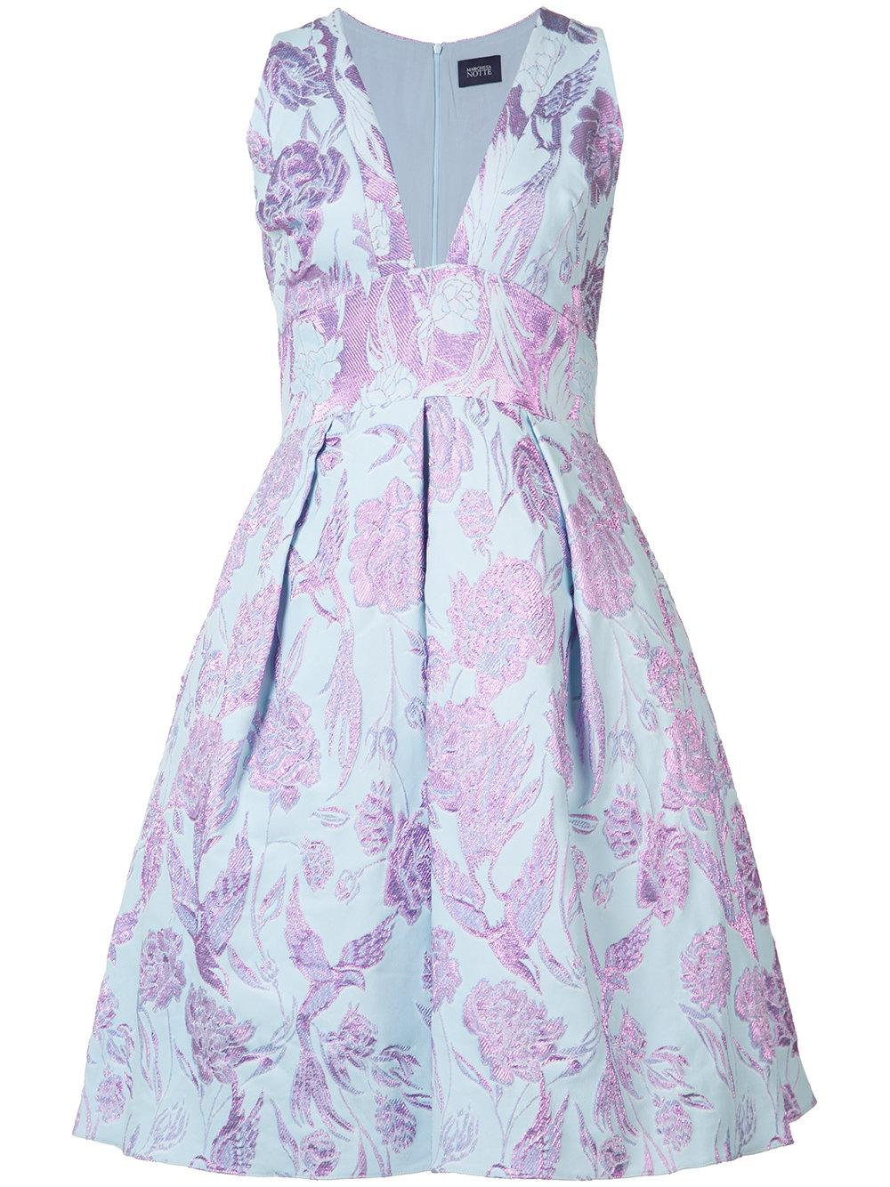 Notte by marchesa floral embroidered dress in blue lyst
