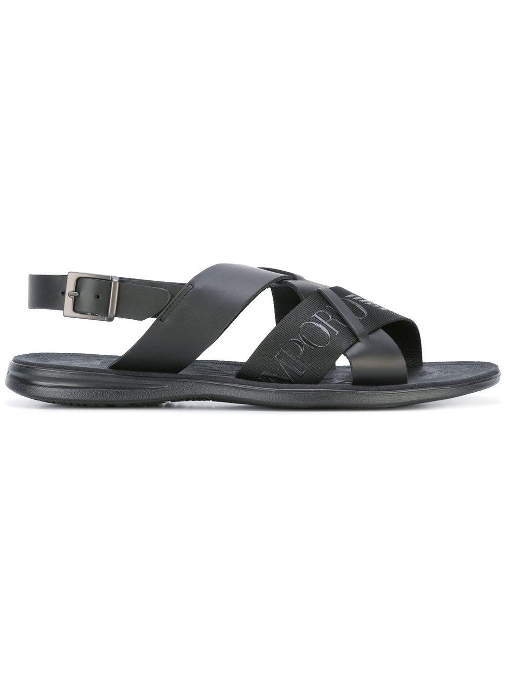 Emporio Armani Logo Sandals In Black Lyst