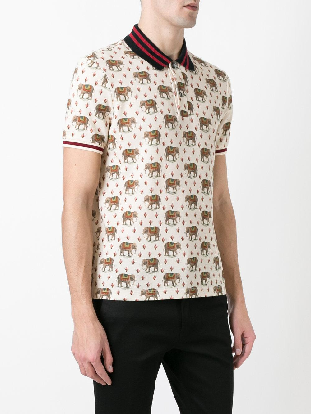 Lyst - Gucci Elephant Print Polo Shirt In Natural For Men-3753