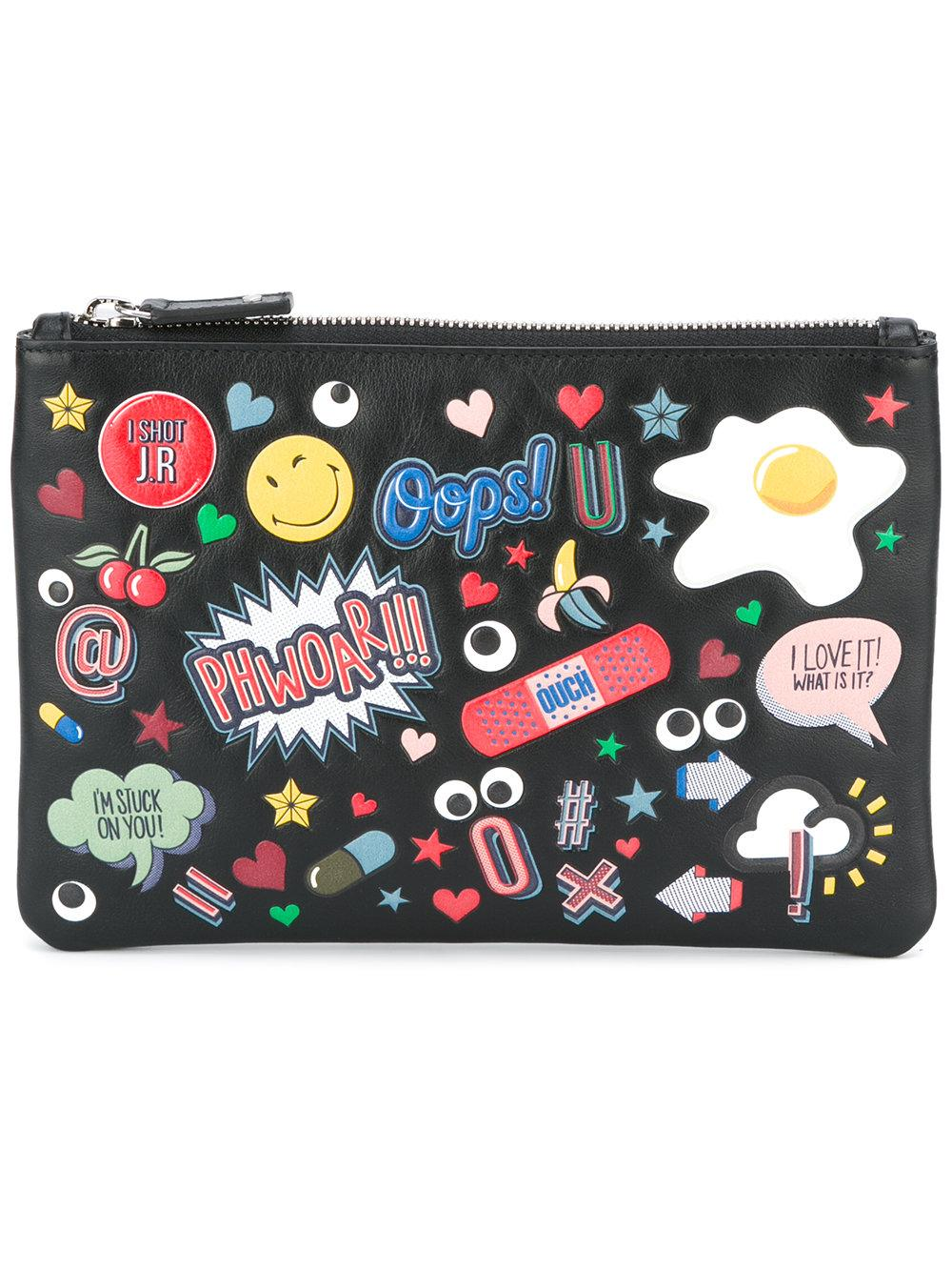 Anya hindmarch Allover Stickers Clutch in Black for Men Lyst