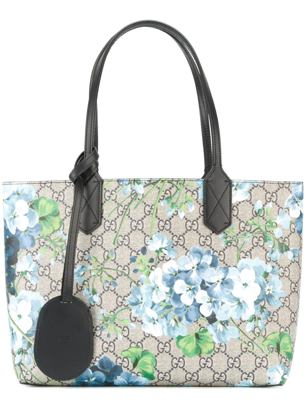 Gucci Reverse Double Shopping Bag Small Gg Floral Blue In Blue | Lyst