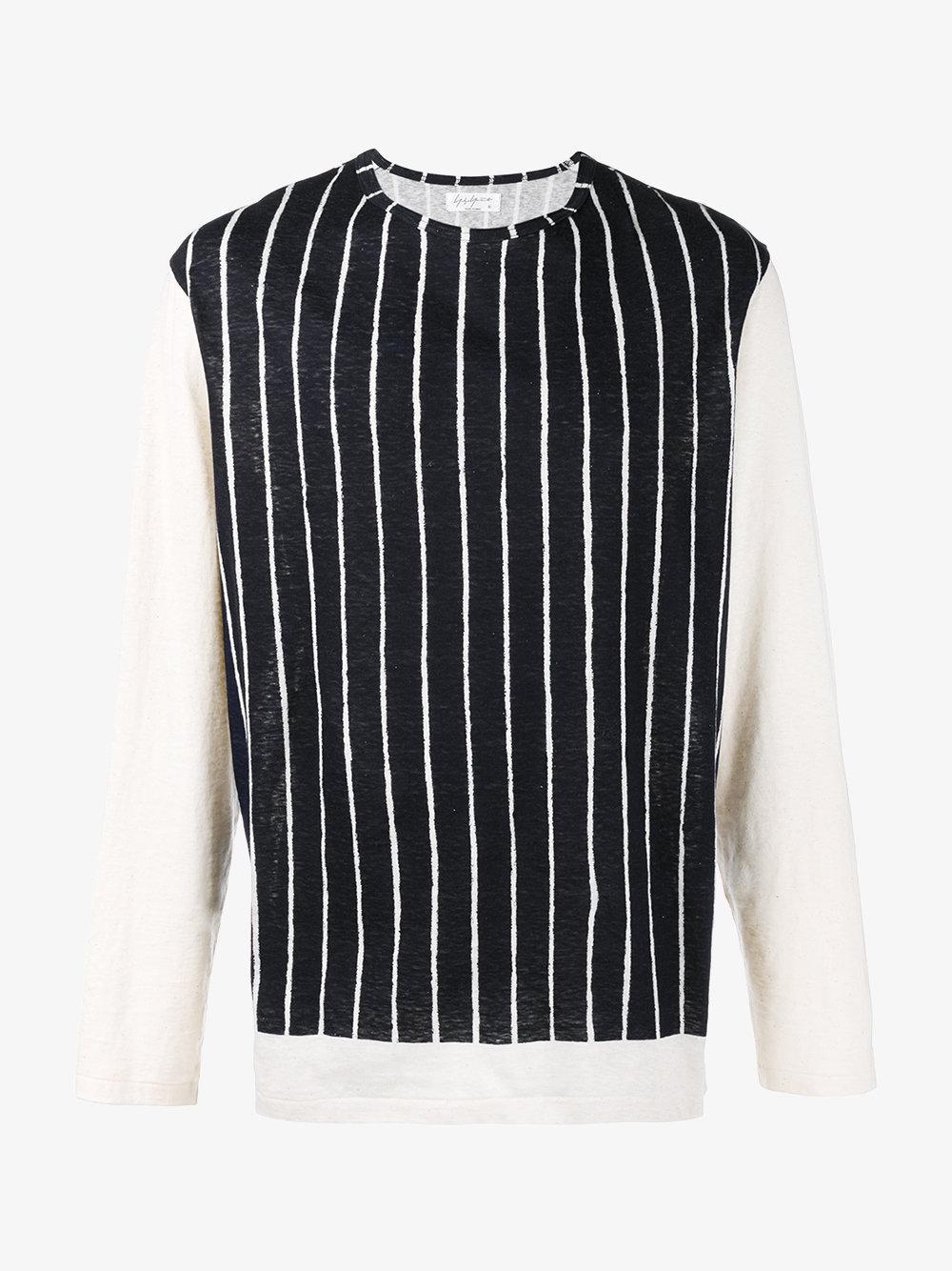 Yohji yamamoto striped long sleeve t shirt in blue for men for Blue and white striped long sleeve t shirt