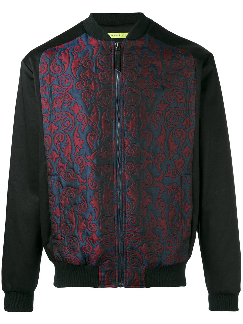 Lyst versace jeans embroidered bomber jacket in black