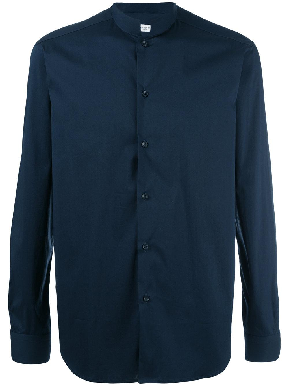 Paolo Pecora Mandarin Collar Shirt In Blue For Men Lyst