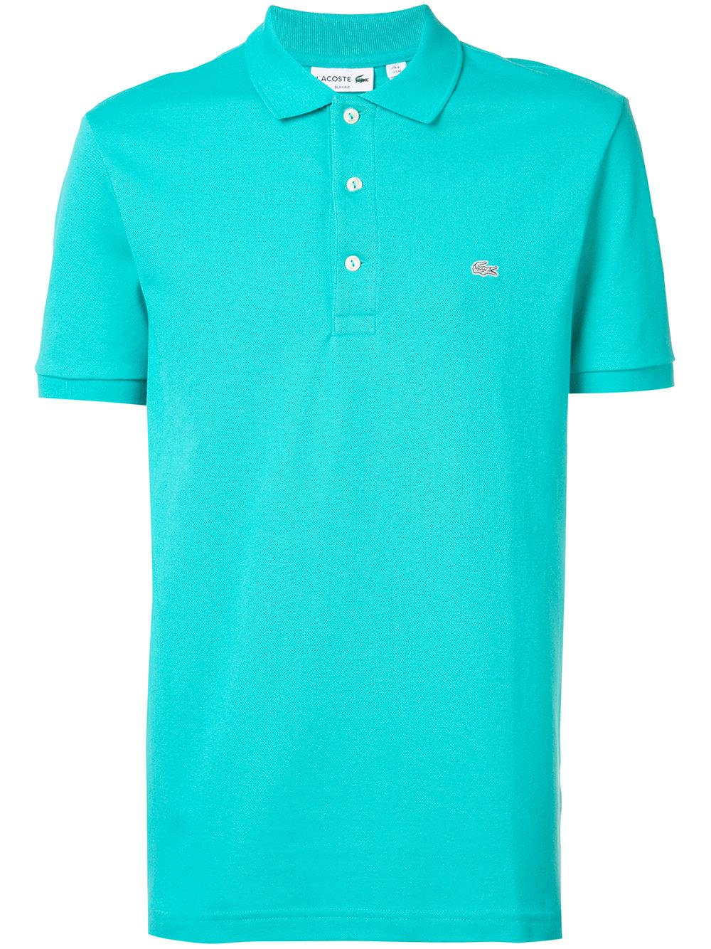 Lyst lacoste embroidered polo shirt in green for men for Embroidered polo shirts online