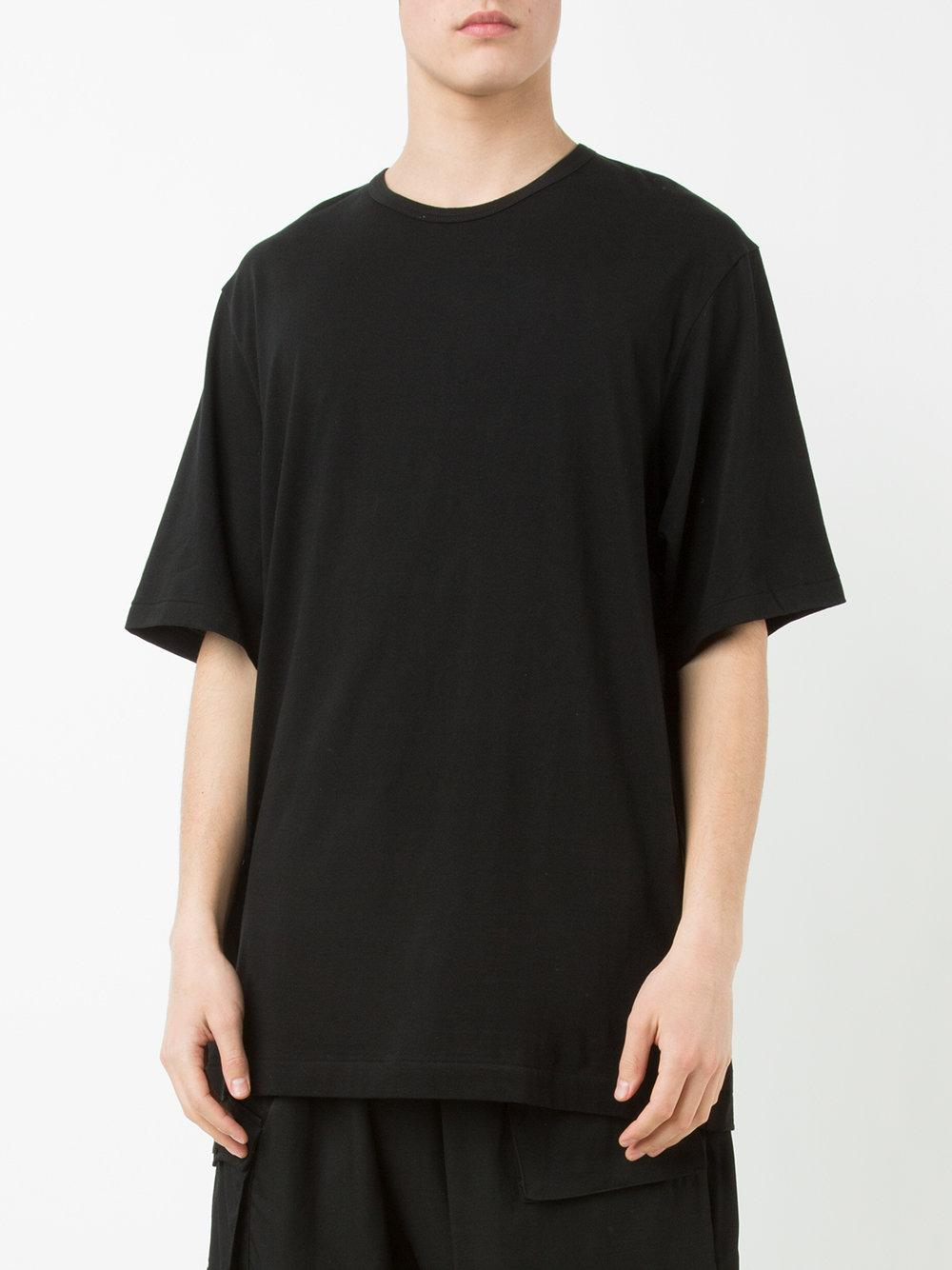 yohji yamamoto long sleeve staff t shirt black in black