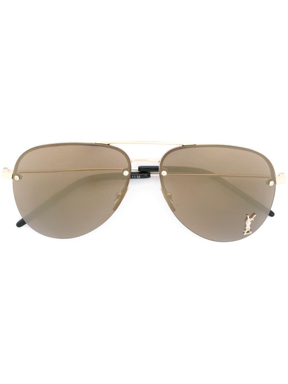 aed690674a Saint Laurent Monogram M11 Sunglasses in Black - Lyst