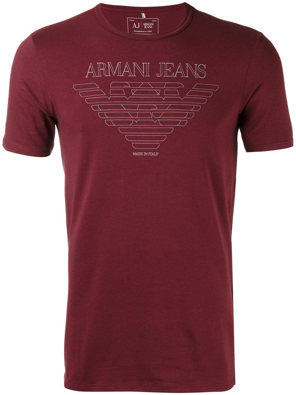 lyst armani jeans printed t shirt in red for men. Black Bedroom Furniture Sets. Home Design Ideas