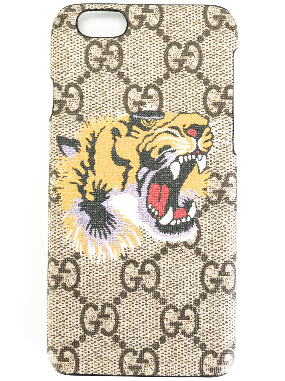 Gucci Tiger Print Gg Supreme Iphone 6/6s Case in Gray