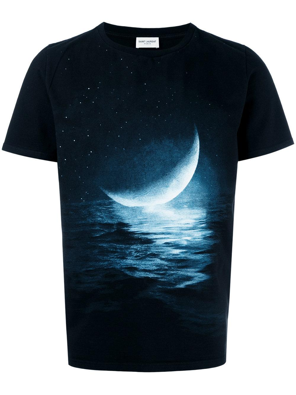 Saint laurent moon print t shirt in black for men lyst for Saint laurent t shirt