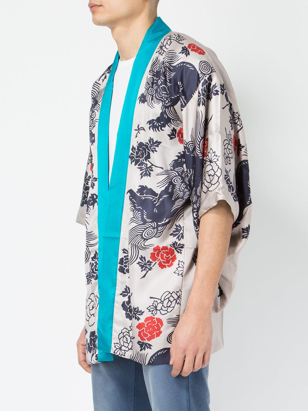 Lyst Gucci Japanese Print Kimono Jacket In Blue For Men