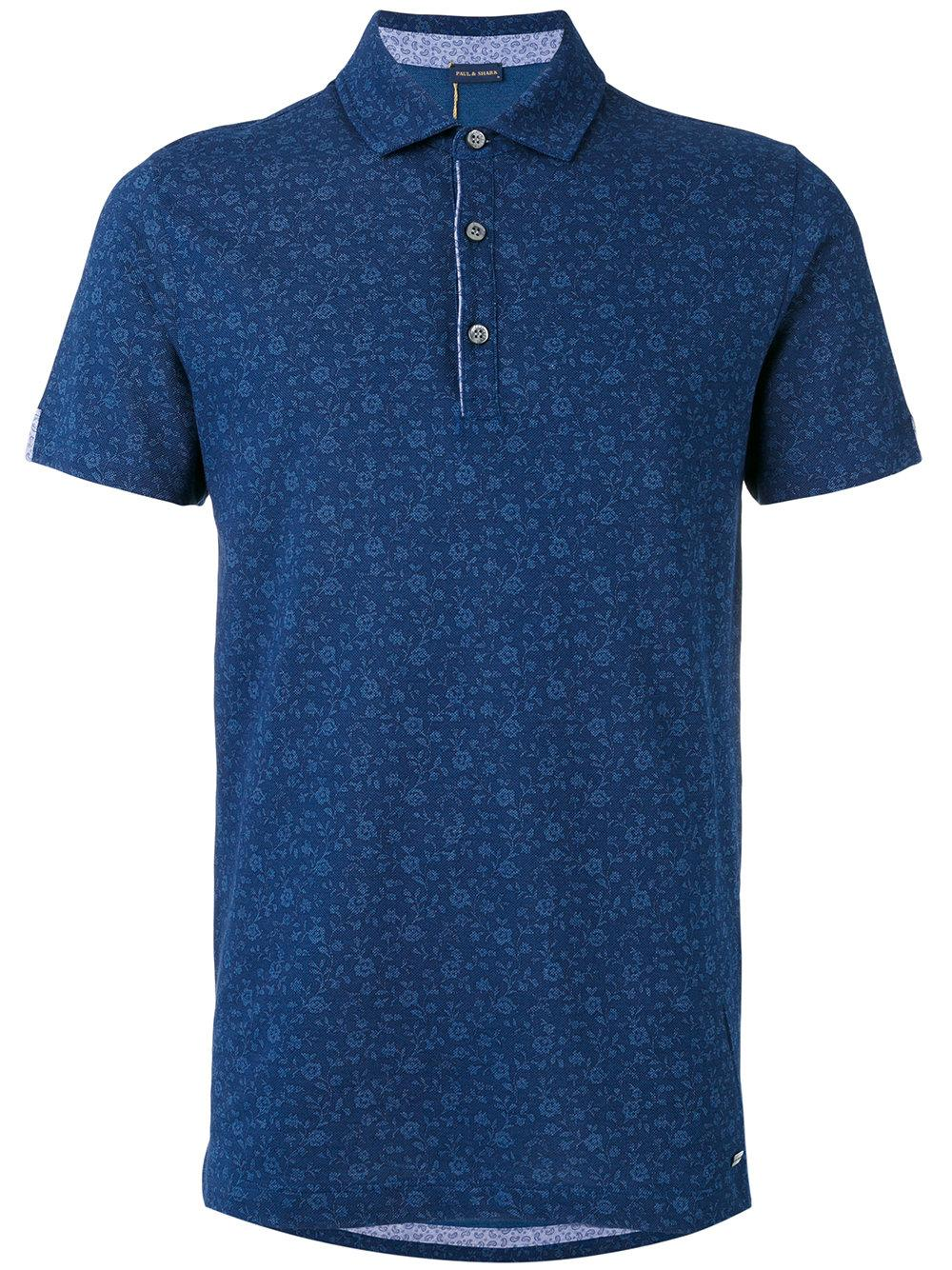 Paul shark floral embroidered polo shirt in blue for men for Blue floral shirt mens