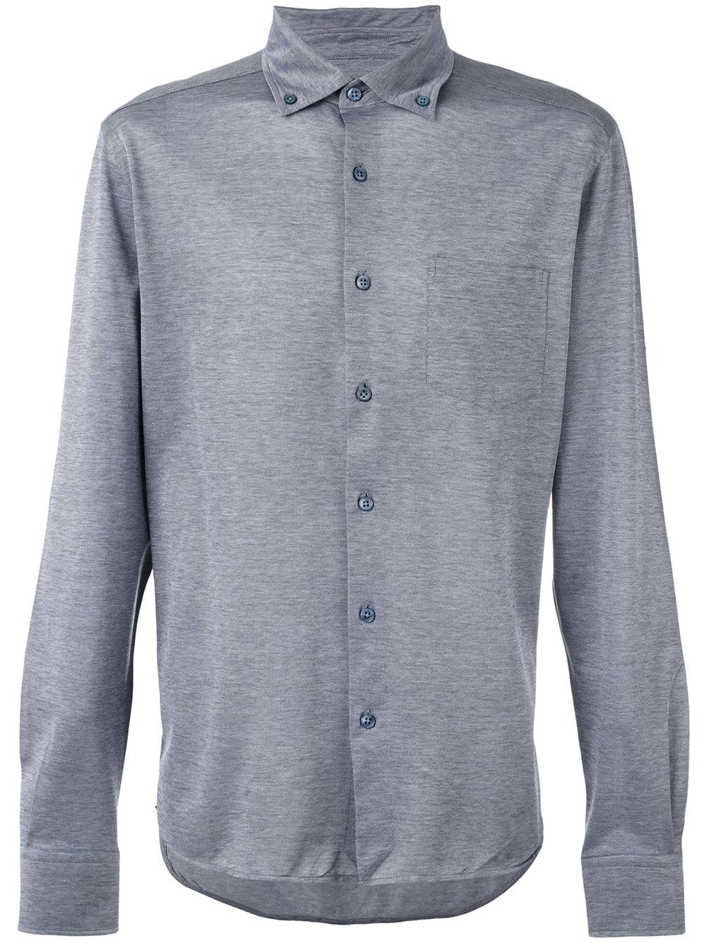 Lyst ermenegildo zegna button down long sleeved shirt in for Grey button down shirt
