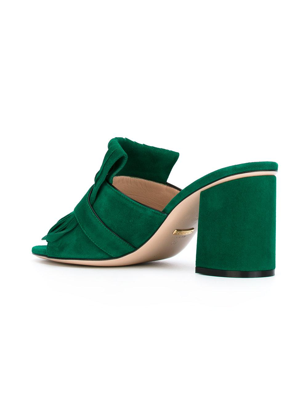 c6ca661b171 Lyst - Gucci Marmont Gg Kiltie Suede Block Heel Mules in Green
